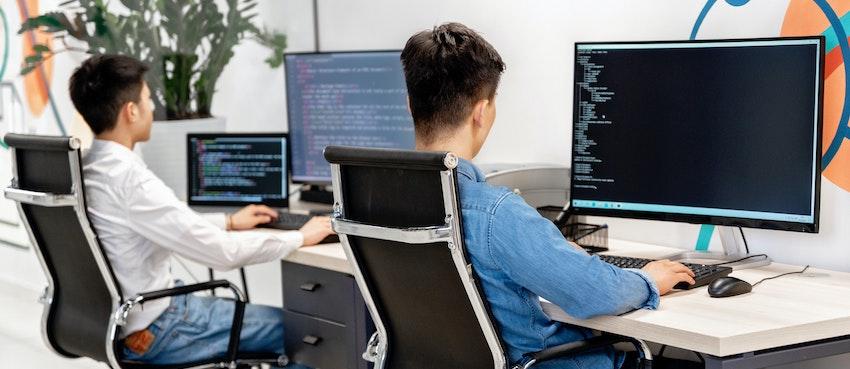 dos-trabajadores-programando-en-trabajo